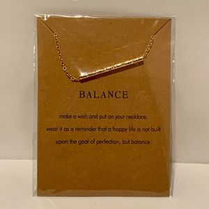 Balance 14k gold bar necklace new in package